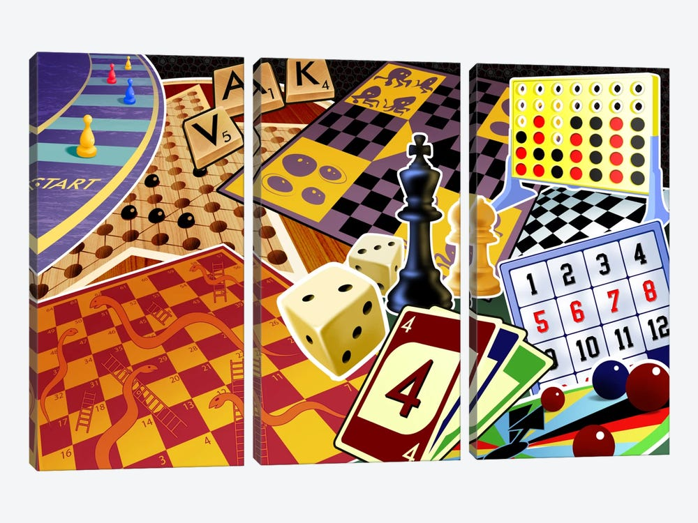 Board Games by Unknown Artist 3-piece Canvas Art Print