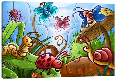 Cartoon Bugs Canvas Art Print