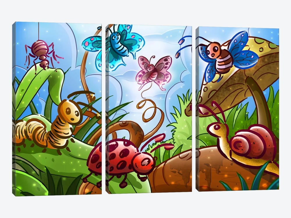 Cartoon Bugs 3-piece Canvas Wall Art