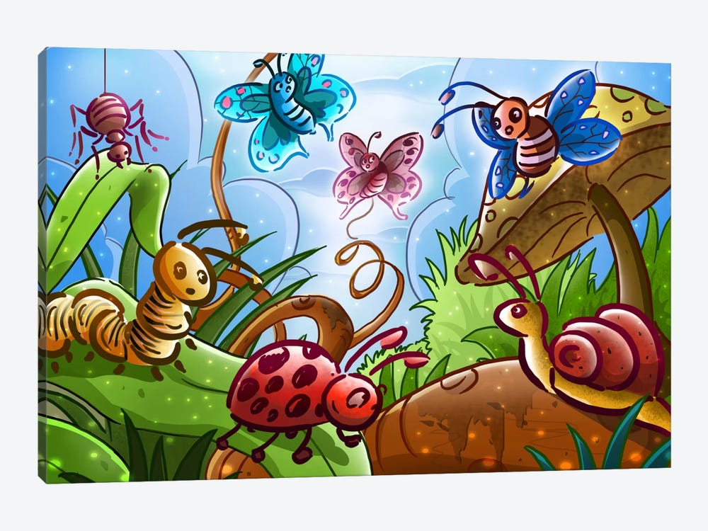 Cartoon Bugs by Unknown Artist 1-piece Canvas Wall Art