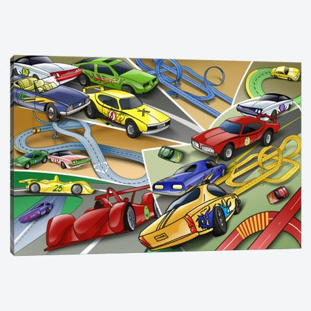 Cartoon Racing Cars Canvas Print #7110} by Unknown Artist Canvas Wall Art