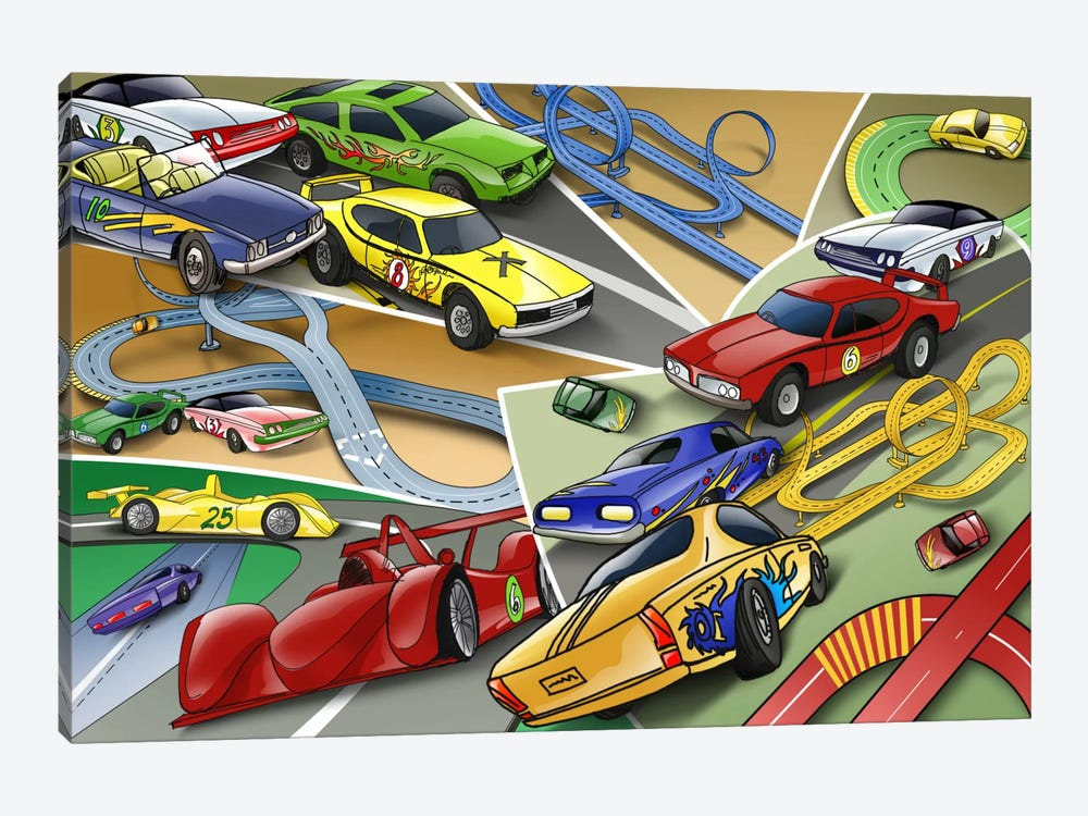 Cartoon Racing Cars by Unknown Artist 1-piece Canvas Art