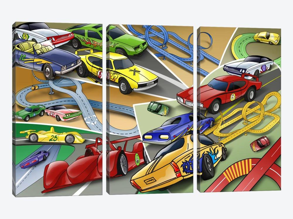 Cartoon Racing Cars by Unknown Artist 3-piece Canvas Artwork