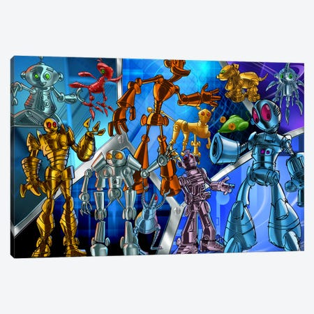 Cartoon Robots Canvas Print #7112} by Unknown Artist Canvas Artwork