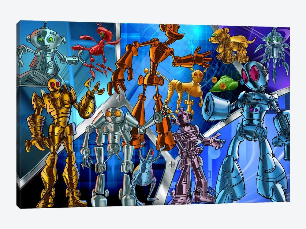 Cartoon Robots by Unknown Artist 1-piece Canvas Wall Art