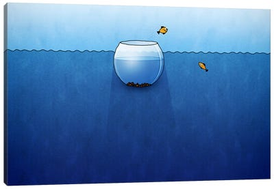 Fishbowl In The Ocean Canvas Art Print