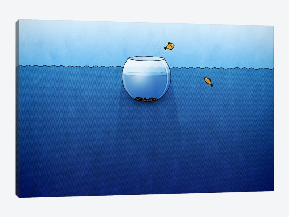 Fishbowl In The Ocean by Unknown Artist 1-piece Canvas Wall Art