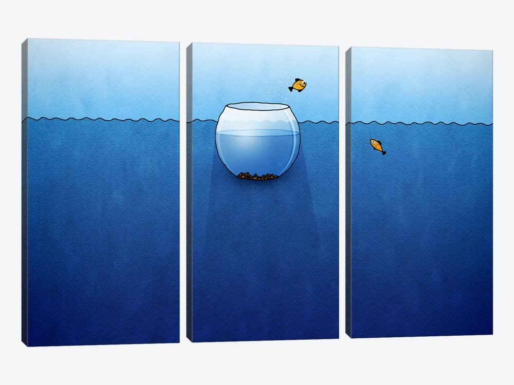 Fishbowl In The Ocean by Unknown Artist 3-piece Canvas Art