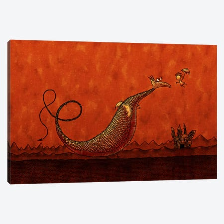 Castle & Dragon Canvas Print #7118} by Unknown Artist Canvas Artwork