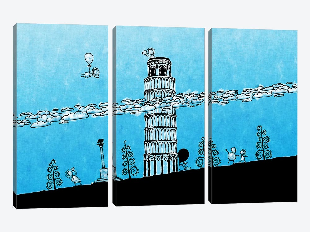 Leaning Tower of Pisa by Unknown Artist 3-piece Canvas Print