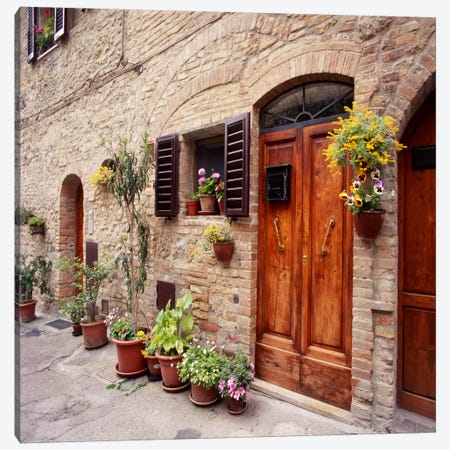 Flowers On The Wall, Tuscany, Italy Canvas Print #7192} by Monte Nagler Canvas Art