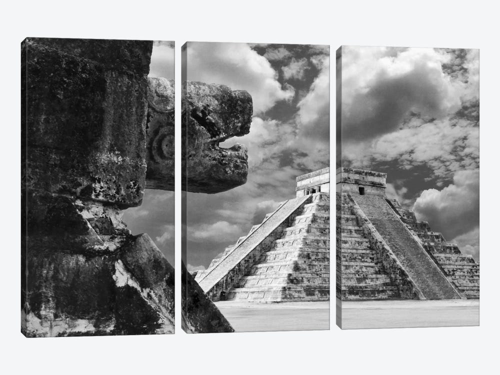 The Serpent And The Pyramid, Chechinitza, Mexico 02 by Monte Nagler 3-piece Art Print