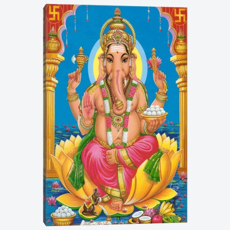 Ganesha Hindu God Fine Art Canvas Print #7218} by Unknown Artist Canvas Art Print