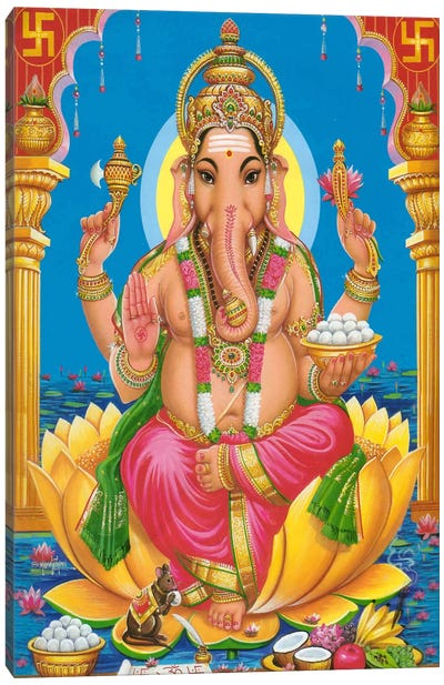 Ganesha Hindu God Fine Art Canvas Print #7218