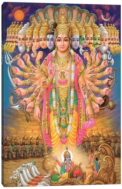 Hindu God Vishnu As Virat Swaroop Canvas Print #7236
