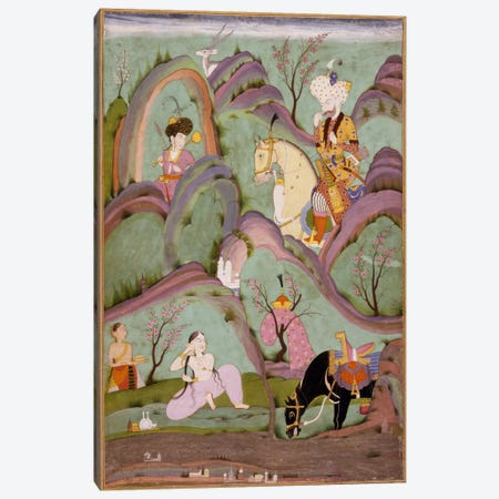 Khusraw Beholding Shirin Bathing Canvas Print #7237} by Unknown Artist Canvas Wall Art