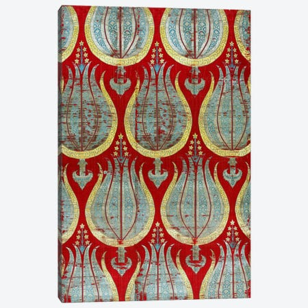 Ottoman Tulips, Silk & Silver Lamella Textile Canvas Print #7238} by Unknown Artist Canvas Art Print