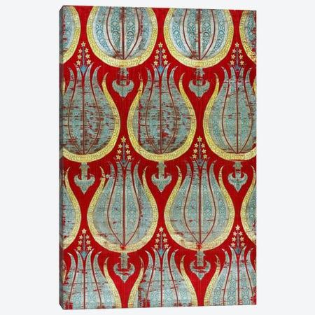 Ottoman Tulips, Silk & Silver Lamella Textile Canvas Print #7238} by Unknown Artist Canvas Art Print