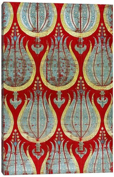 Ottoman Tulips, Silk & Silver Lamella Textile Canvas Art Print