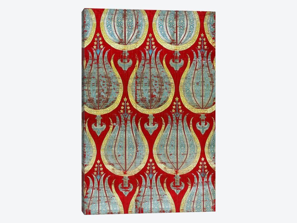 Ottoman Tulips, Silk & Silver Lamella Textile by Unknown Artist 1-piece Canvas Wall Art