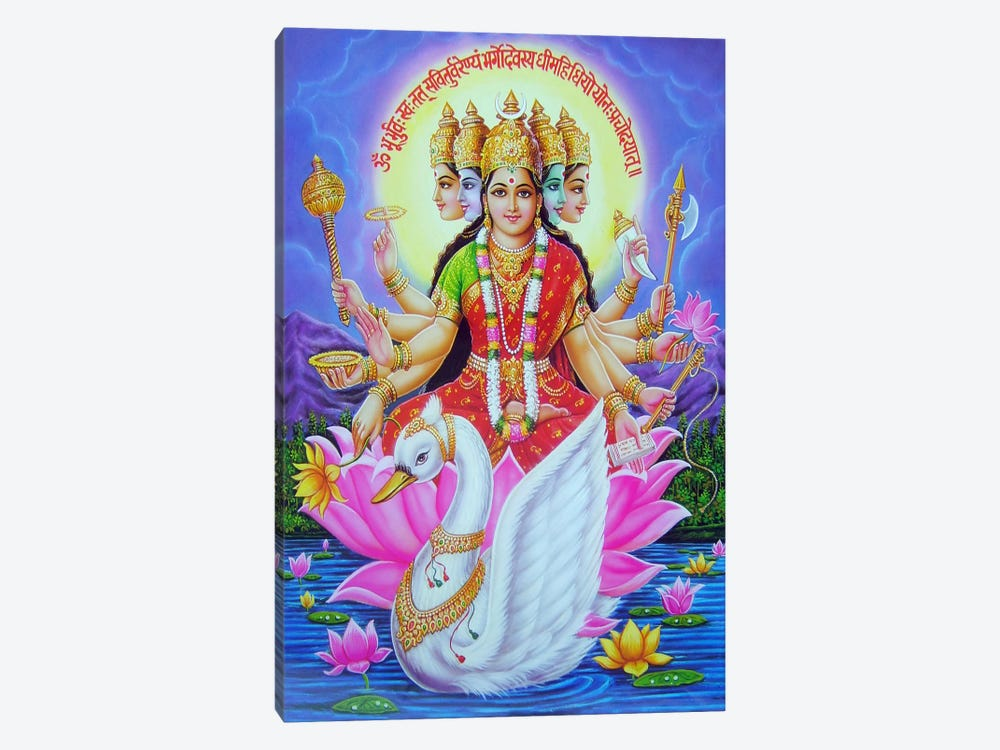 Hindu Goddess Gayatri by Unknown Artist 1-piece Canvas Art Print