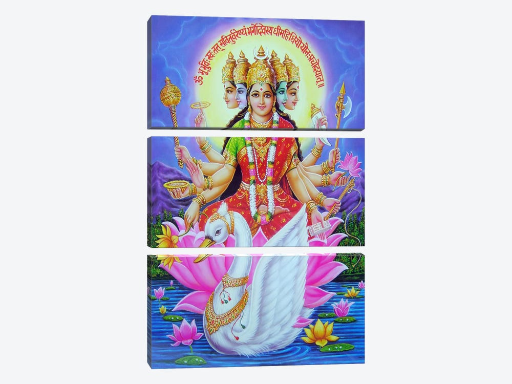 Hindu Goddess Gayatri 3-piece Canvas Print