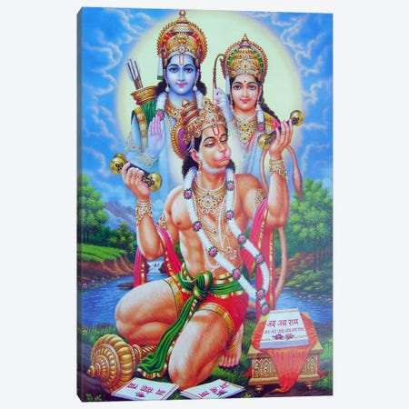 God Hanuman 3-Piece Canvas #7240} by Unknown Artist Canvas Artwork