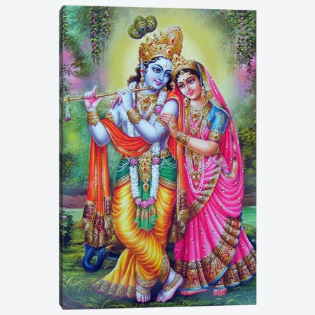 Krishna & Radha Hindu Gods Canvas Print #7241} by Unknown Artist Canvas Artwork