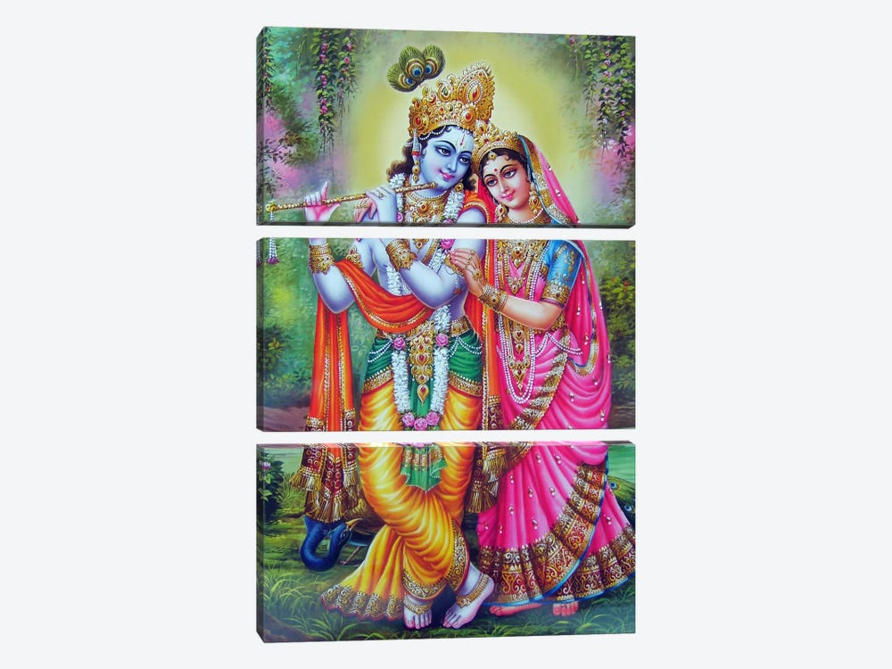 Krishna & Radha Hindu Gods 3-piece Canvas Wall Art