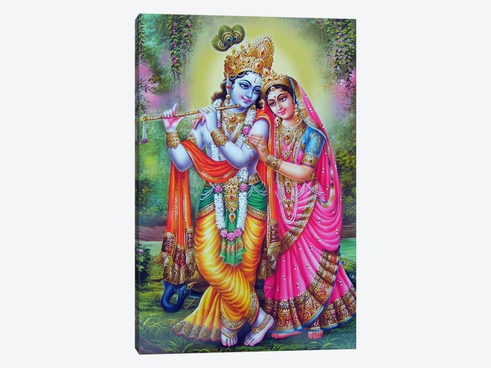 Krishna & Radha Hindu Gods by Unknown Artist 1-piece Canvas Art