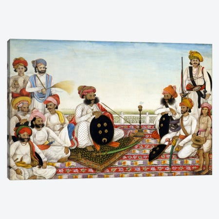 Thakur Dawlat Singh Among Courtiers Canvas Print #7244} by Unknown Artist Art Print