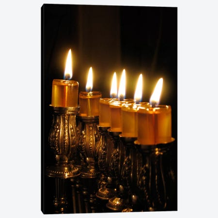 Jewish Menorah Canvas Print #7264} by Unknown Artist Art Print
