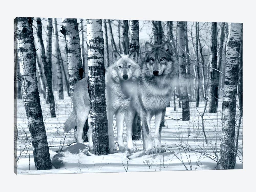 Snow Shadows Silvertones by Gordon Semmens 1-piece Canvas Artwork