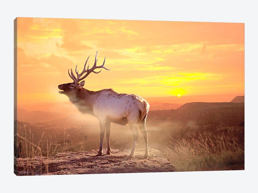 Elk Sunrise In The Badlands by Gordon Semmens 1-piece Art Print