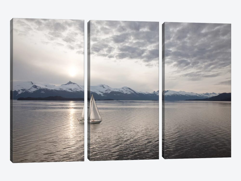 Sailing at Sunset, Alaska '09 by Monte Nagler 3-piece Canvas Wall Art