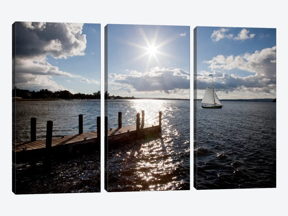 Sunrise at Crooked Lake Conway, Michigan '10 by Monte Nagler 3-piece Canvas Art Print