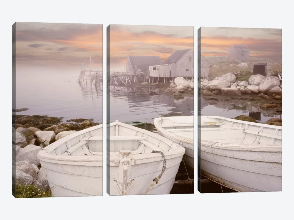 Two Boats at Sunrise, Nova Scotia '11 by Monte Nagler 3-piece Canvas Artwork