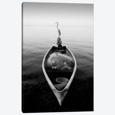 Canoe And A Heron Canvas Print #7321} by Moises Levy Canvas Print