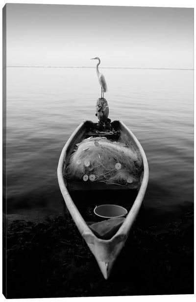 Canoe And A Heron Canvas Art Print
