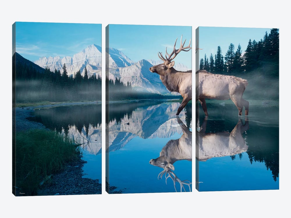 Reflections of Glacier by Gordon Semmens 3-piece Canvas Wall Art