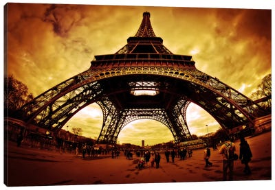 Eiffel Apocalypse Color Canvas Art Print