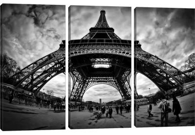 Eiffel Apocalypse B&W by Sebastien Lory Canvas Wall Art
