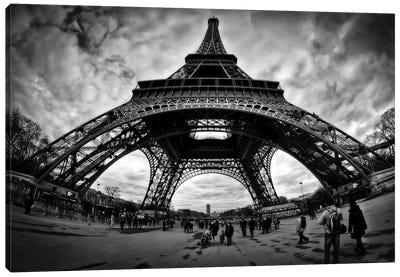 Eiffel Apocalypse B&W Canvas Art Print
