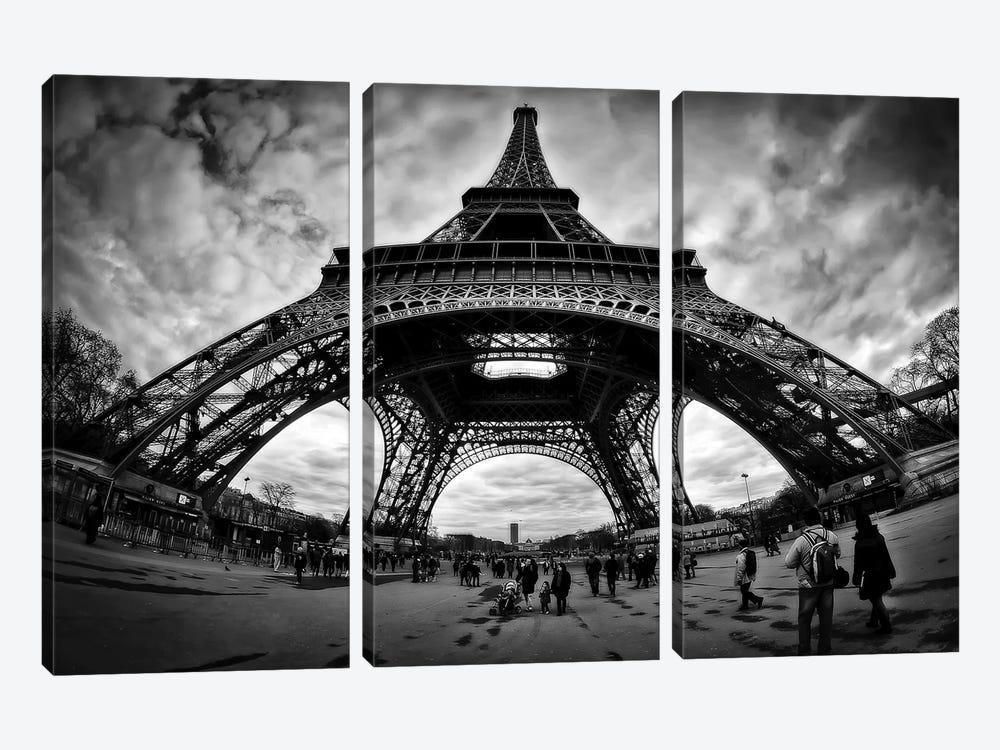 Eiffel Apocalypse B&W by Sebastien Lory 3-piece Canvas Art Print