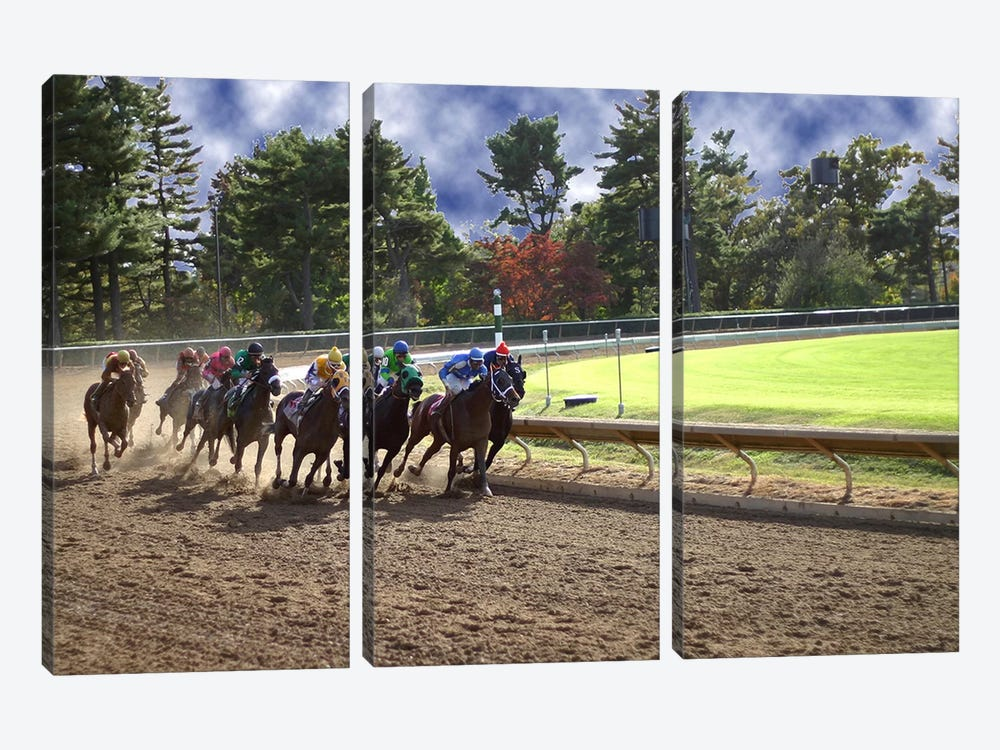 At The Race Track by Unknown Artist 3-piece Canvas Artwork