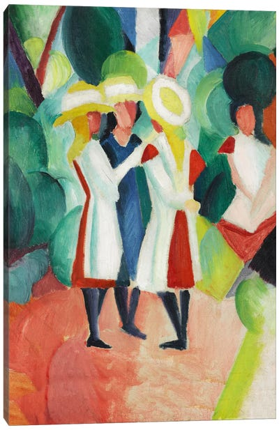 Three Girls in Yellow Straw Hats by August Macke Canvas Art Print