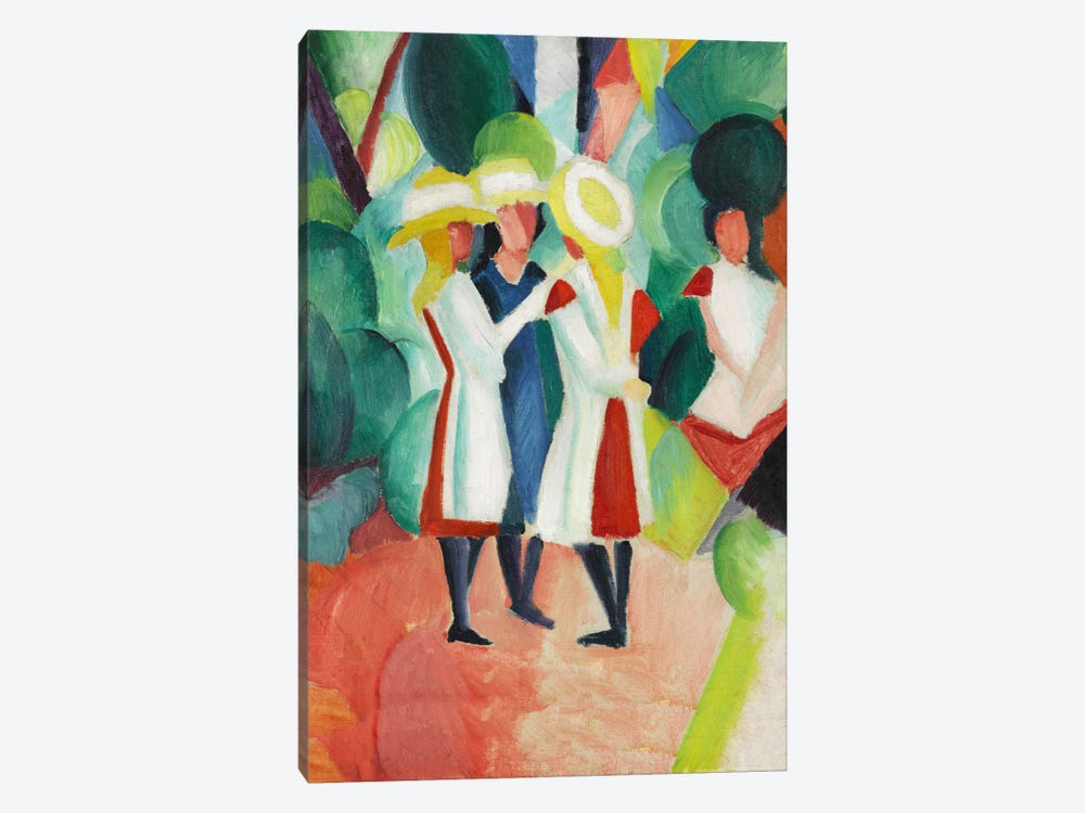 Three Girls in Yellow Straw Hats by August Macke 1-piece Canvas Wall Art