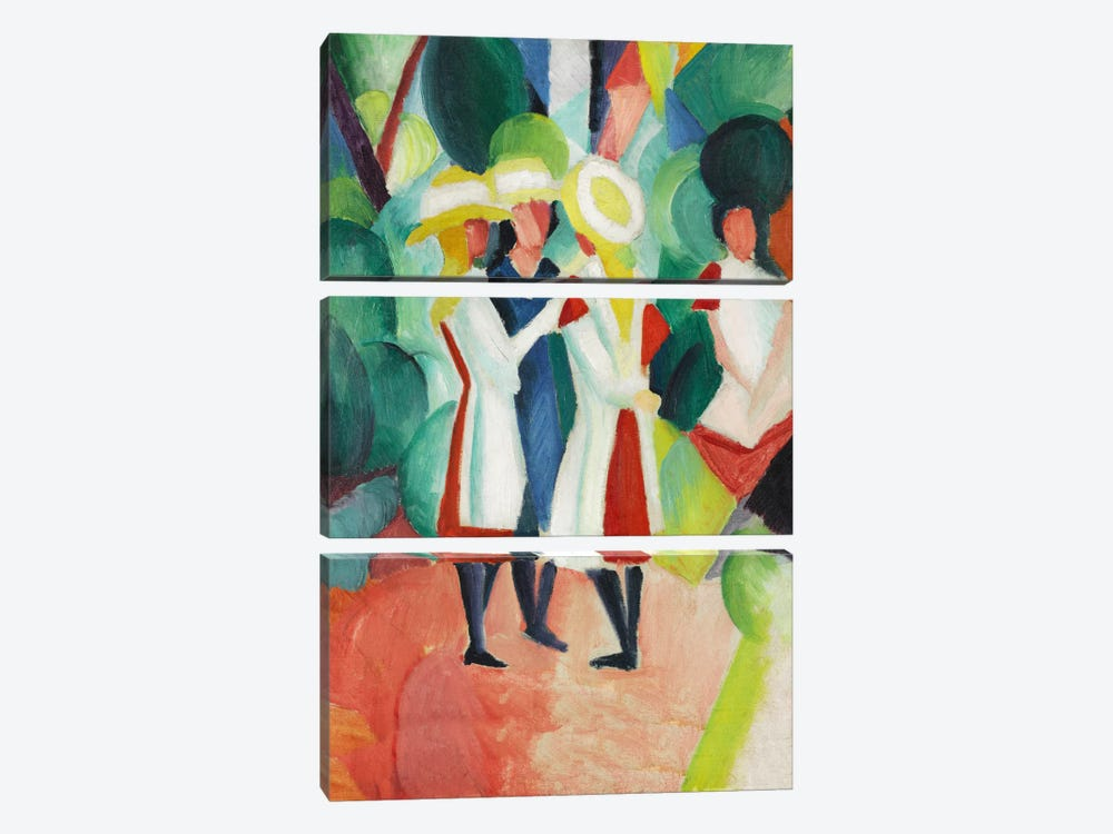 Three Girls in Yellow Straw Hats by August Macke 3-piece Canvas Artwork