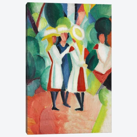 Three Girls in Yellow Straw Hats Canvas Print #8012} by August Macke Canvas Art Print