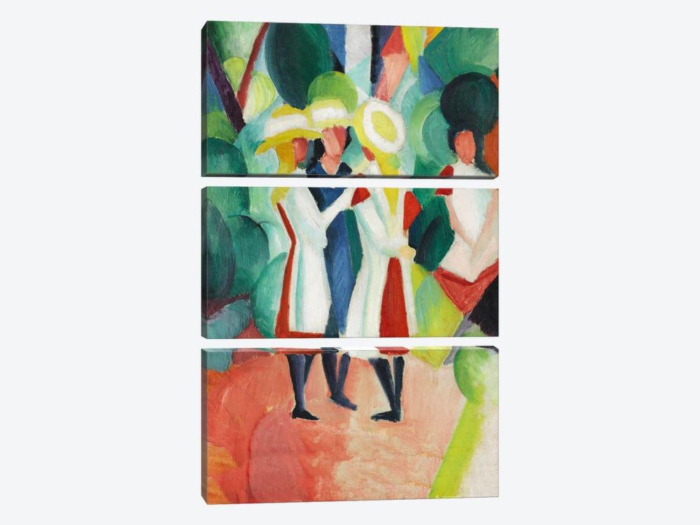 Three Girls in Yellow Straw Hats by August Macke 3-piece Canvas Artwork